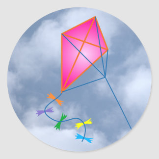 Paper dragon kite classic round sticker