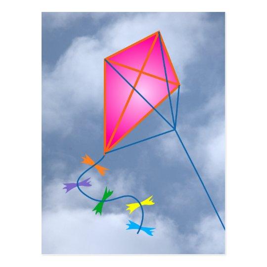 Paper dragon kite postcard