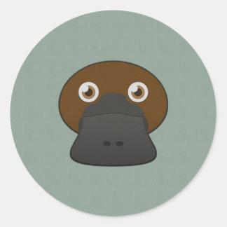 Paper Duck-Billed Platypus Classic Round Sticker