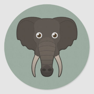 Paper Elephant Classic Round Sticker