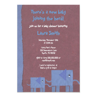 Paper Elephant Collage Baby Shower Invitation