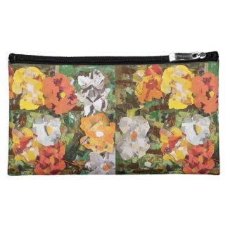 Paper Flower Collage in yellow and orange purse Cosmetic Bags