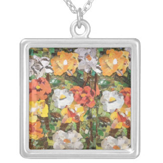 Paper Flower Collage necklace in Orange & Yellow