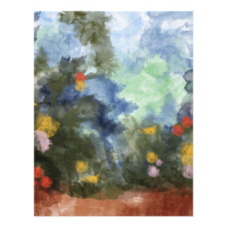 """Paper, Flowered Path Watercolor 8.5"""" X 11"""" Flyer"""