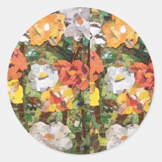 Paper Flowers Collage in yellow & orange Classic Round Sticker