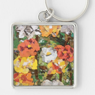 Paper Flowers Collage in Yellow & Orange Keychain