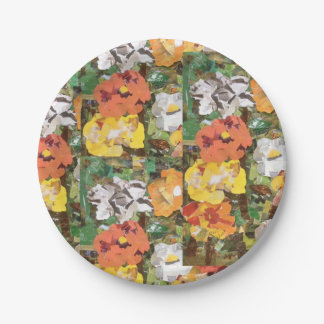 Paper Flowers Collage in Yellow & Orange 7 Inch Paper Plate