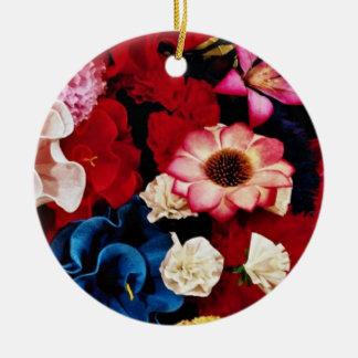 Paper flowers from Mexico  flowers Ceramic Ornament
