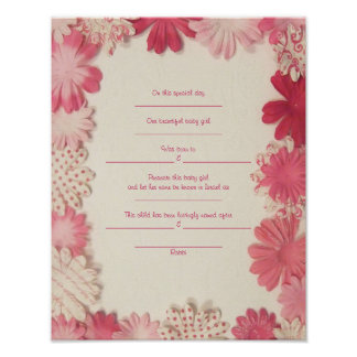 Paper Flowers Jewish Baby Naming Birth Certificate Poster
