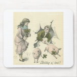 paper girl and boy with pigs mousemat