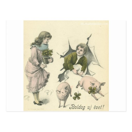 paper girl and boy with pigs postcard