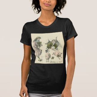 paper girl and boy with pigs T-Shirt