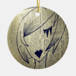 paper girl Double-Sided ceramic round christmas ornament