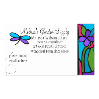 Paper Glass Dragonfly Business Cards