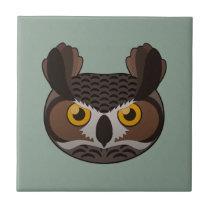 Paper Great Horned Owl Ceramic Tile