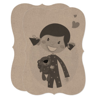 Paper greeting with cute Little girl with teddy Card