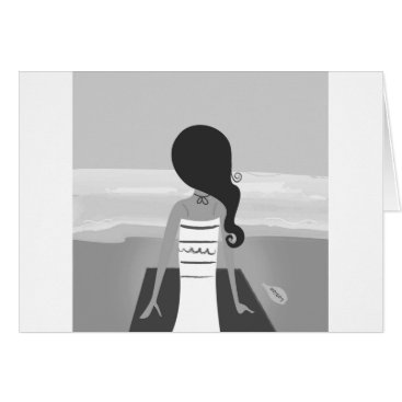 Beach Themed Paper greeting with Vintage beach girl Card