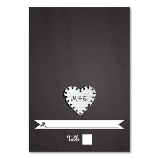 Paper heart chalkboard monogram wedding place card