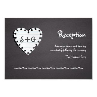 Paper heart chalkboard, monogram wedding reception card