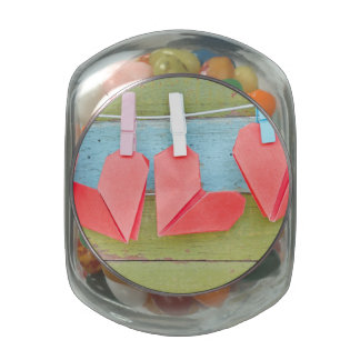 Paper Heart Hanging On The Clothesline Glass Candy Jar