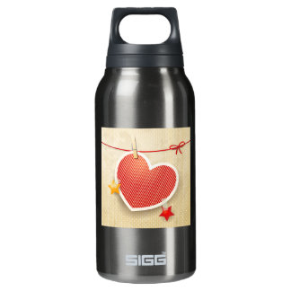Paper heart insulated water bottle