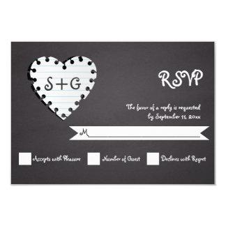 Paper heart on chalkboard & monogram wedding RSVP Card