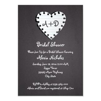 Paper heart on chalkboard wedding bridal shower card