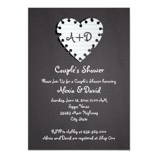 Paper heart on chalkboard wedding couples shower card