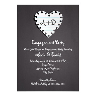 Paper heart on chalkboard wedding engagement party card