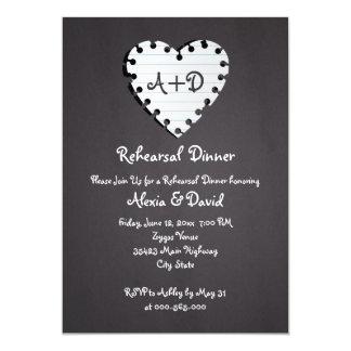 Paper heart on chalkboard wedding rehearsal dinner card