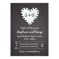 Paper heart on chalkboard with monogram wedding 5