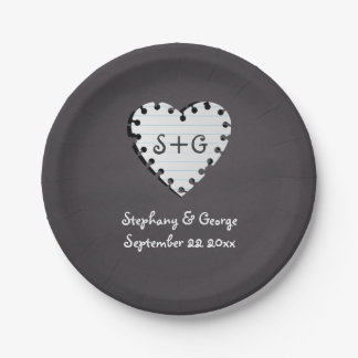 Paper heart on chalkboard with monogram wedding 7 inch paper plate