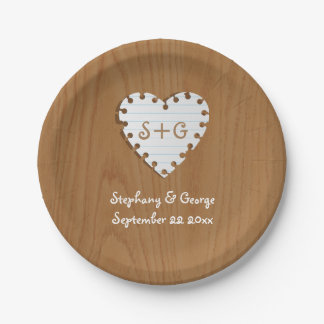 Paper heart on wood with monogram wedding paper plate