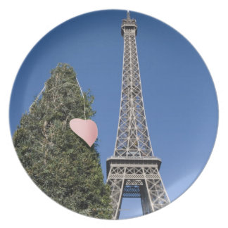 paper heart tied to a tree with the Eiffel tower Dinner Plate