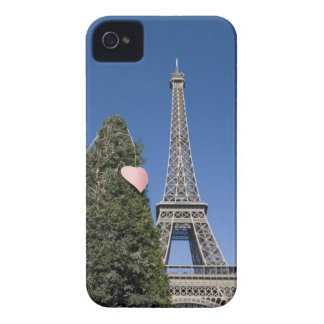 paper heart tied to a tree with the Eiffel tower iPhone 4 Case-Mate Case
