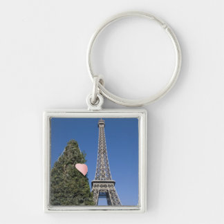 paper heart tied to a tree with the Eiffel tower Keychain