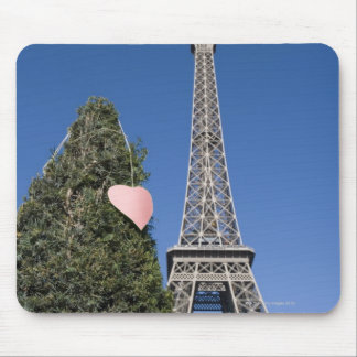 paper heart tied to a tree with the Eiffel tower Mouse Pad