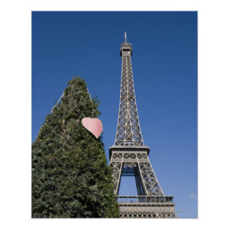 paper heart tied to a tree with the Eiffel tower Poster