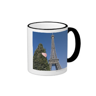 paper heart tied to a tree with the Eiffel tower Ringer Mug