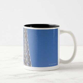 paper heart tied to a tree with the Eiffel tower Two-Tone Coffee Mug