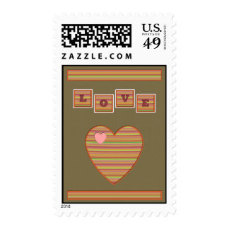 Paper Hearts Postage Stamp (Army Green)