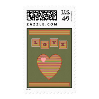 Paper Hearts Postage Stamp (Sage)