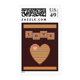 Paper Hearts Postage Stamp (Wine)