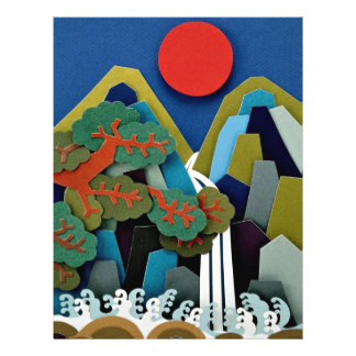 Paper illustration, sun and mountain flyers