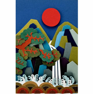 Paper illustration, sun and mountain standing photo sculpture