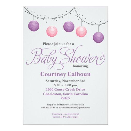 Paper Lantern Baby Shower Card