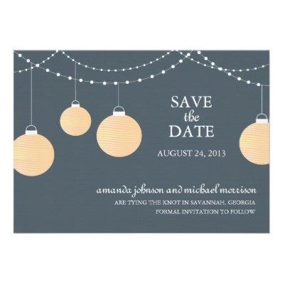 Paper Lantern Wedding Save the Date Custom Invites