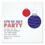 "Paper Lanterns 4th of July Party Invitations 5.25"" Square Invitation Card"