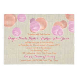 Paper Lanterns Coral Pink Rustic Wedding Card