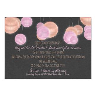 Paper Lanterns Coral Pink Wedding Card